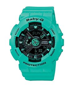The smaller size of this shock and water resistant watch is designed to fit the feminine wrist, with the eye-catching appeal of the layered construction and Teal resin band and case.
