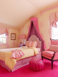 tone on tone pink girl's room with a bit of yellow- LOVE THE PAINT
