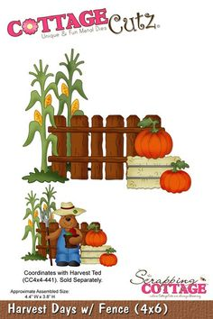 Cottage Cutz-Die-Harvest Days w/Fence      Item Number: COT-4x6-031  Your Price: $24.95
