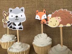Toppers de cupcake de criatura de bosque bosque partido