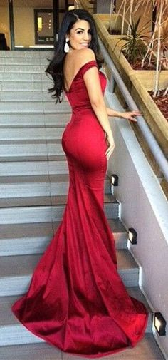2015 Sexy Red Evening Dress, Off-the shoulder Dress, Be the focus of the party Graduation ideas Red Evening Dresses, Evening Dresses and Sexy | design fashion