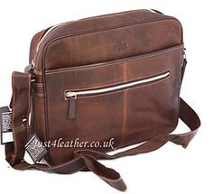 Rowallan Zip Around Hunter Style Leather Satchel Business Bag Lovely Practical Nice Striped Lining