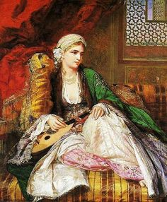 """Frank Dicksee, """"Leila,"""" One of many examples of century Orientalism, fantasies of exotic women in exotic clothing and spaces. Odalisque was sexual slave in The Ottoman palace. Especially the young girls was raised for sex and entertainment. Portrait Photos, Frank Dicksee, Jean Leon, John Everett Millais, Academic Art, Exotic Women, Turkish Art, Pre Raphaelite, Arabian Nights"""
