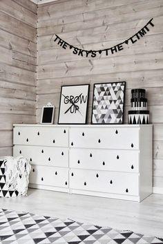 ikea malm drawers with adhesive wall dots