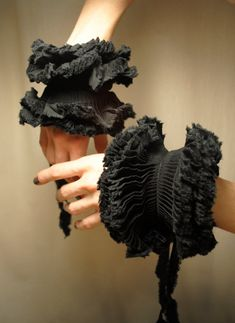 Ruffled Cuffs/ Black cotton/ Bow ties/ Edgy/ Shabby Chic/ Gift for her under 50