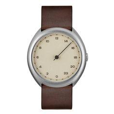 slow O 06 - Dark Brown Vintage Leather, Silver Case, Crème Dial