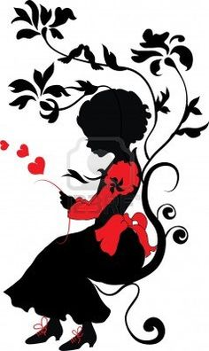 Silhouette girl with love letter valentine illustration Stock Photo - 11568128