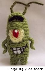 Amigurumi version of Plankton from Spongebob Squarepants, by Craftster's LadyLuigi.