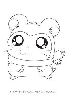 Pashmina du dessin animé hamtaro est prête à être colorier