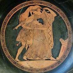 """lionofchaeronea: """"Peleus seizes Thetis, who transforms into a lion in an attempt to escape his grasp. Tondo of an Attic red-figure kylix, attributed to the painter Douris; ca. 490 BCE. Found at Vulci; now in the Cabinet des Médailles, Paris. """""""