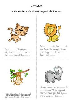 With this worksheet students are expected to describe the animals in the pictures and spell their names correctly.It can also be changed into a card game or a kind of guessing game. - ESL worksheets