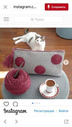 Necessaire com bolas Crochet Pouch, Crochet Gifts, Cute Crochet, Beautiful Crochet, Knit Crochet, Crochet World, Crochet Designs, Crochet Patterns, Crochet Shoulder Bags