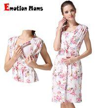 Emoción mamás ropa de maternidad vestidos de maternidad lactancia ropa de enfermería dress ropa de embarazo para las mujeres embarazadas(Hong Kong)