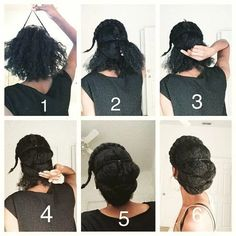 """I just love buns so much they can be fun and classy. """"By Part the hair however you want too. The front can be a flat twist, braid or what ever you want it to be. Create two twists on each side and…"""" Natural Hair Updo, Natural Hair Growth, Natural Hair Styles, Flat Twist, Bad Hair Day, Hair Dos, My Hair, Natural Wedding Hairstyles, Pelo Afro"""