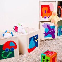 Original juguetero en forma de cesto cuadrado ideal para las habitaciones infantiles más alegres - Minimoi