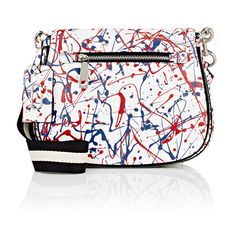 Marc Jacobs Splatter Paint Saddle Bag ($550) ❤ liked on Polyvore featuring bags, handbags, shoulder bags, multi, marc jacobs shoulder bag, white shoulder bag, flat purse, white purse and marc jacobs handbags
