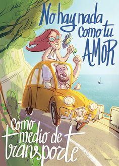 No hay nada como tu amor como medio de transporte. #monigotez #ilustracion #illustration #amor #love #carretera #road #jorge_drexler #pareja #couple #vintage #handmade