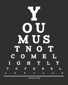 Stephen King Eye Chart