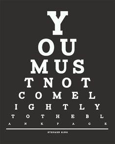 Stephen King Eye Chart