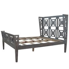 Chippendale Weathered Wood Queen Bed - Cosmo Chic