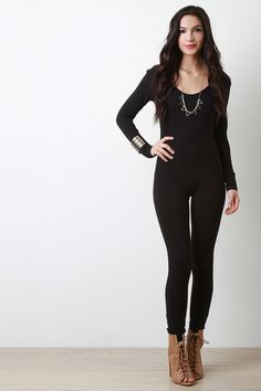 Scooped Neck Long Sleeves Jumpsuit