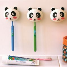 lovely little toothbrush holders for a child's bathroom from petit pan