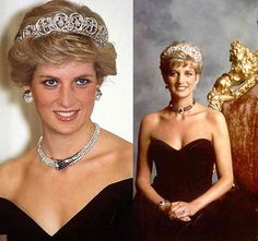 Diana, Princess of Wales in Germany in 1987 on the left and in a portrait on the right in late eighties/early nineties