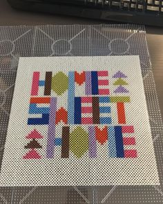 67 Trendy Home Sweet Hom Cross Stitch Pattern Projects Hama Beads Design, Hama Beads Patterns, Beading Patterns, Fuse Beads, Pearler Beads, Kids Room Wall Art, Melting Beads, Diy On A Budget, Cross Stitching