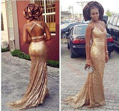 2016 Gold Sequins Evening Dresses Mermaid Nigeria Aso Ebi Styles Wedding Bridesmaid Formal Dress Sexy Backless Prom Dresses