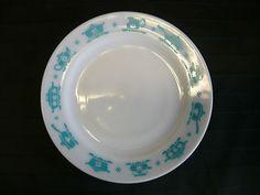 Hazel Atlas Kitchen Aids Turquoise Dinner Plate 1950's Milk Glass