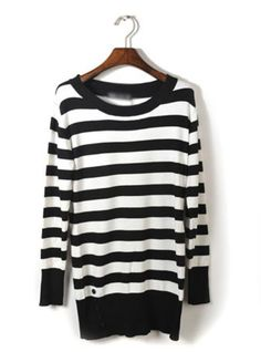 Black Striped Long-sleeve Sweater$43.00