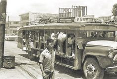 Manila's Public Transportation – a pictorial essay. Retro Bus, Big Red Bus, Jeepney, Vintage Jeep, Philippines Culture, Colorized Photos, Custom Jeep, Angel Art, Pinoy