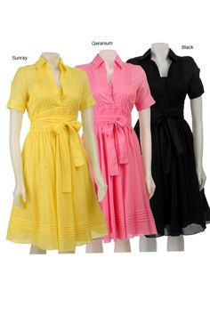 Shop for Calvin Klein Women's Cotton Pintuck Shirt Dress. Get free delivery On EVERYTHING* Overstock - Your Online Women's Clothing Destination! Vintage Dress Patterns, Vintage Dresses, Nice Dresses, Casual Dresses, Fashion Dresses, Sun Dresses, Dress Skirt, Shirt Dress, All About Fashion