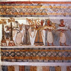 Ritual scene of worship, possibly concerning the veneration of the dead, detail of decoration on a sarcophagus from a tomb at Ayia Triada, Crete, Late Minoan Period, c.1390 BC (painted plaster on limestone)
