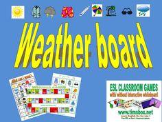 CLASSROOM GAMES - WEATHER BOARD - Jeu de l'oie sur le temps (météo) et les vêtements- PRIMAIRE *
