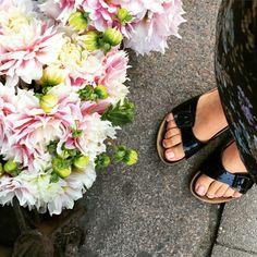 Blomster over blomster. Birkenstock, Sandals, Fashion, Slide Sandals, Moda, Shoes Sandals, Fasion, Sandal, Slipper