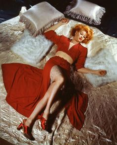 Lucille Ball by George Hurrell vintage fashion red boudoir hostess gown 2 pc crop top skirt shoes color photo portrait movie star hollywood glam pin up girl looks War Era WWII evening long dress sexy Vintage Hollywood, Hollywood Glamour, Classic Hollywood, Hollywood Icons, Hollywood Divas, Hollywood Actresses, Vintage Movie Stars, Vintage Movies, I Love Lucy