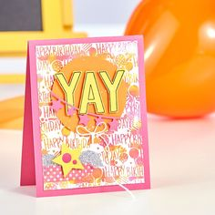 Birthday Bash Embossing Folder - Reinkers on the Journey Gel Press | handmade colorful birthday card | Fun Stampers Journey | mixed media cardmaking