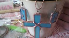 stained glass cross and earrings