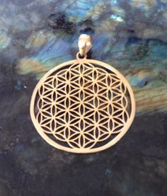 Flower of Life Pendant, 24K Gold Plated, Large Size. Sacred Geometry Jewelry.