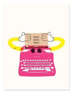 Pink Robot - Personalised Typewriter Decor Print for Nursery, Play Room, Home from Ruka-Ruka