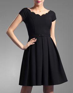 #AdoreWe #VIPme Skater Dresses - BAOYAN Pleated Elegant Skater Mini Little Black Dress - AdoreWe.com