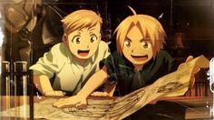 Fullmetal Alchemist, Alphonse Elric, Edward Elric, meninos, olhar, desenho, livros, tubo de ensaio, anime