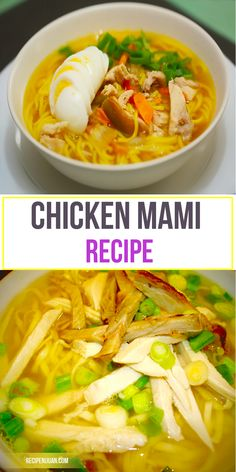 Chicken Mami is a perfect comfort food. It is a similar recipe for the Chicken Noodle Soup. This Chicken Mami recipe is a favourite menu and Filipinos. Filipino Recipes, Asian Recipes, Beef Recipes, Chicken Recipes, Cooking Recipes, Filipino Food, Ethnic Recipes, Filipino Dishes, Pinoy Food