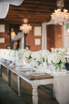 #hydrangeas, #tablescapes, #table-runners  Photography: Perpixel Photography - perpixelphoto.com  Read More: http://stylemepretty.com/2013/09/05/diy-los-angeles-wedding-from-perpixel-photography/