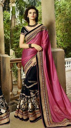 Magenta and #Black #Designer Saree @ http://www.indiandesignershop.com/product/magenta-black-designer-saree/