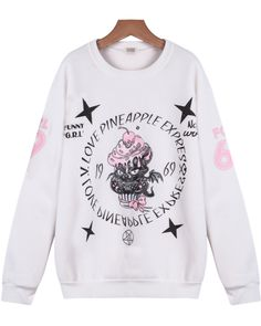 Shop White Long Sleeve Ice Cream Cat Print Sweatshirt online. Sheinside offers White Long Sleeve Ice Cream Cat Print Sweatshirt & more to fit your fashionable needs. Free Shipping Worldwide!