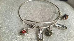 Handmade in stock heart 5 charm adjustable bracelet. $10+ shipping