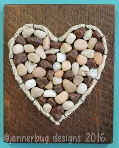 Pebble Art Stone Art Shell Art Heart on by JennerbugDesignCo