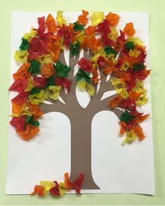 Use your pencil to make the leaves for this Fall Tissue Paper Tree. It gives the tissue paper depth and is less messy and quicker than rolling in a ball paper crafts Fall Tissue Paper Tree Autumn Crafts, Fall Crafts For Kids, Autumn Art, Thanksgiving Crafts, Fall Paper Crafts, Summer Crafts, Kids Diy, Easter Crafts, Tissue Paper Trees